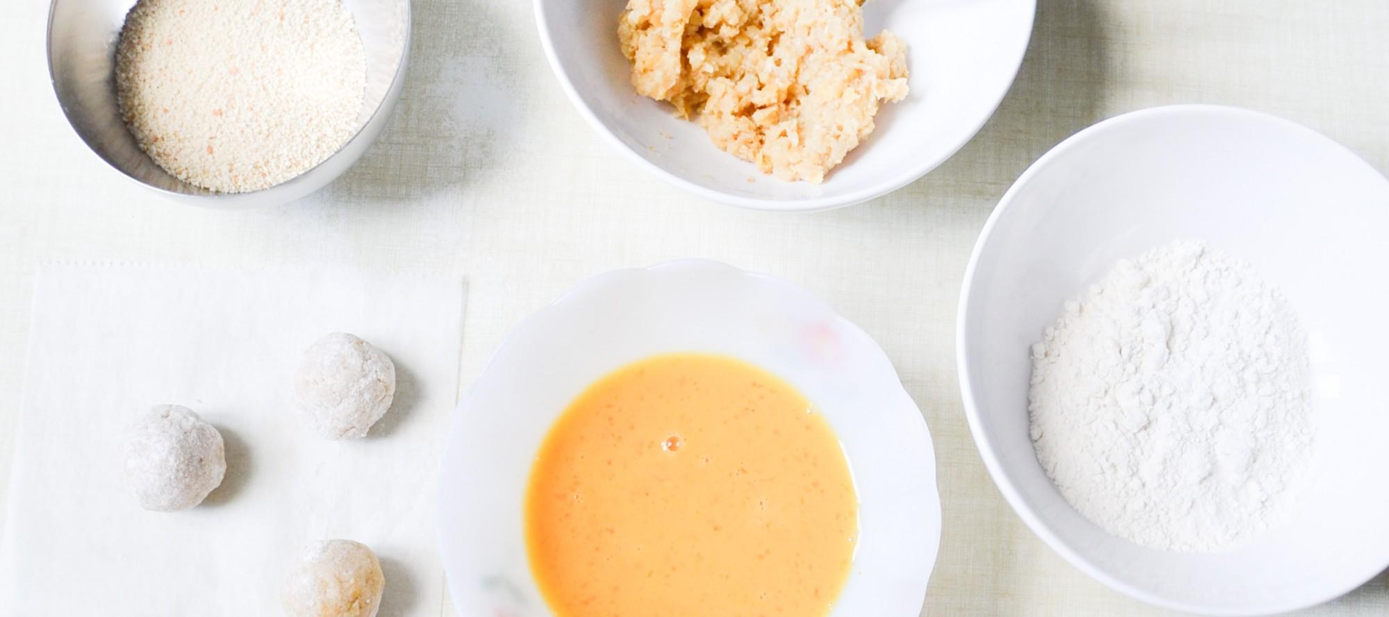 beignets pomme de terre lentille corail panure chapelure oeuf farine curry boulettes