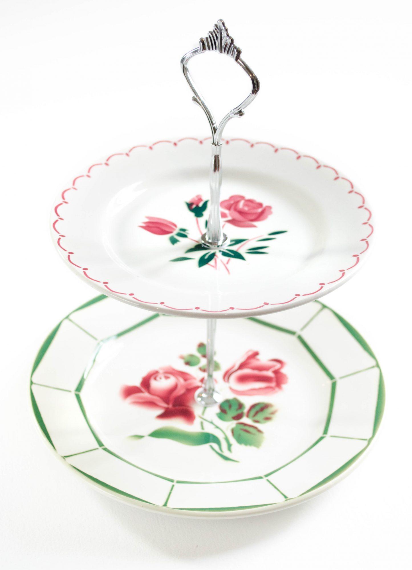 cakestand faience badonviller digoin sarreguemines assiettes roses