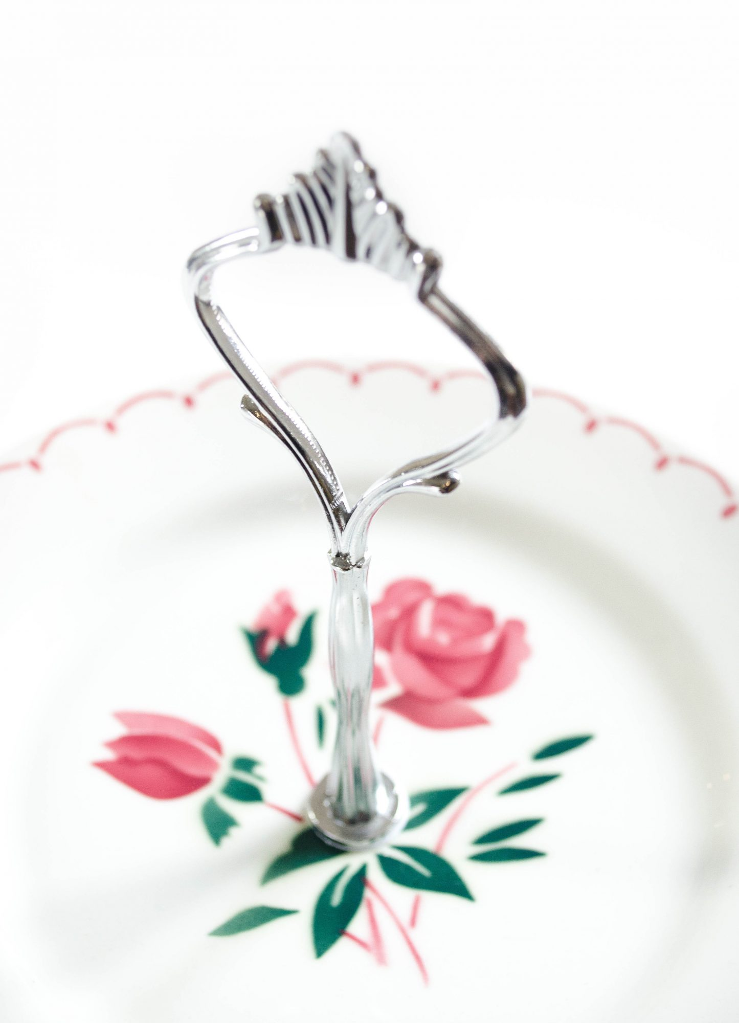 cakestand faience badonviller assiettes roses tige metal