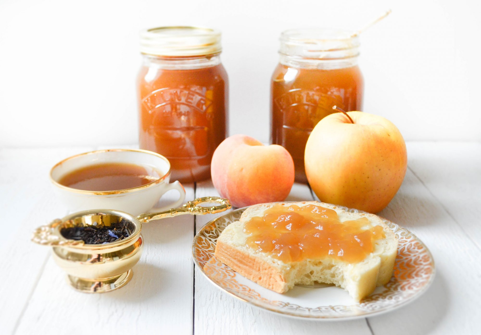 gellee de the afternoon earl grey agar agar pomme peche whittard mason kilner jar bergamote