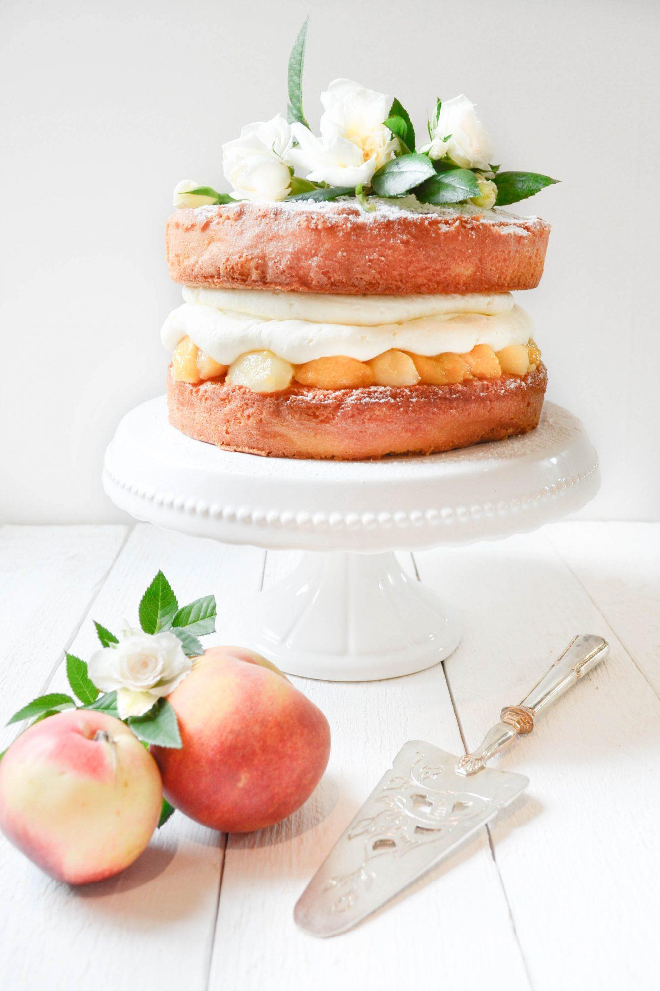 peach victoria sponge cake mascapone peches sirop-2