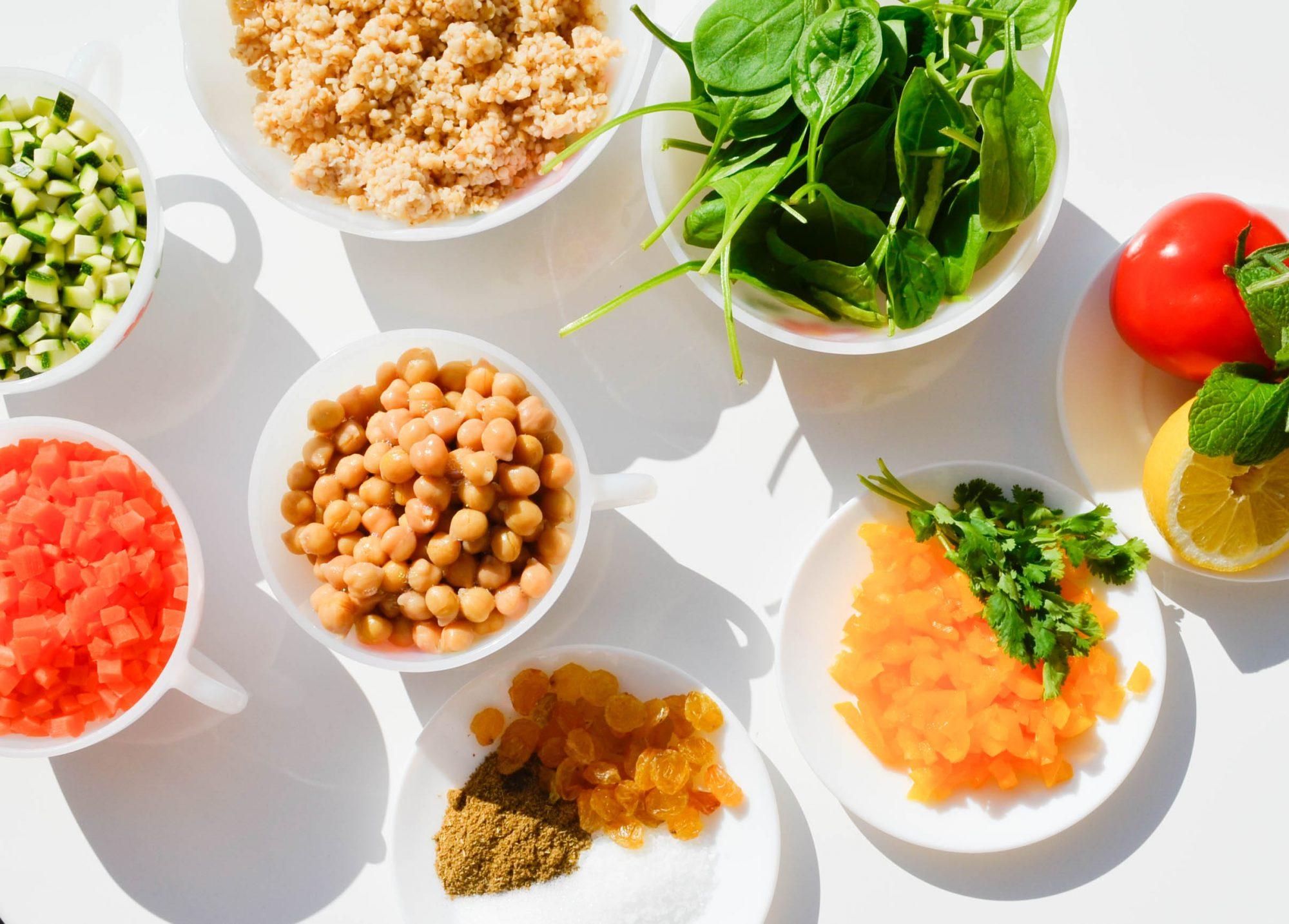 tabouleh-boulghour-legumes-confits-ingredients taboule maison